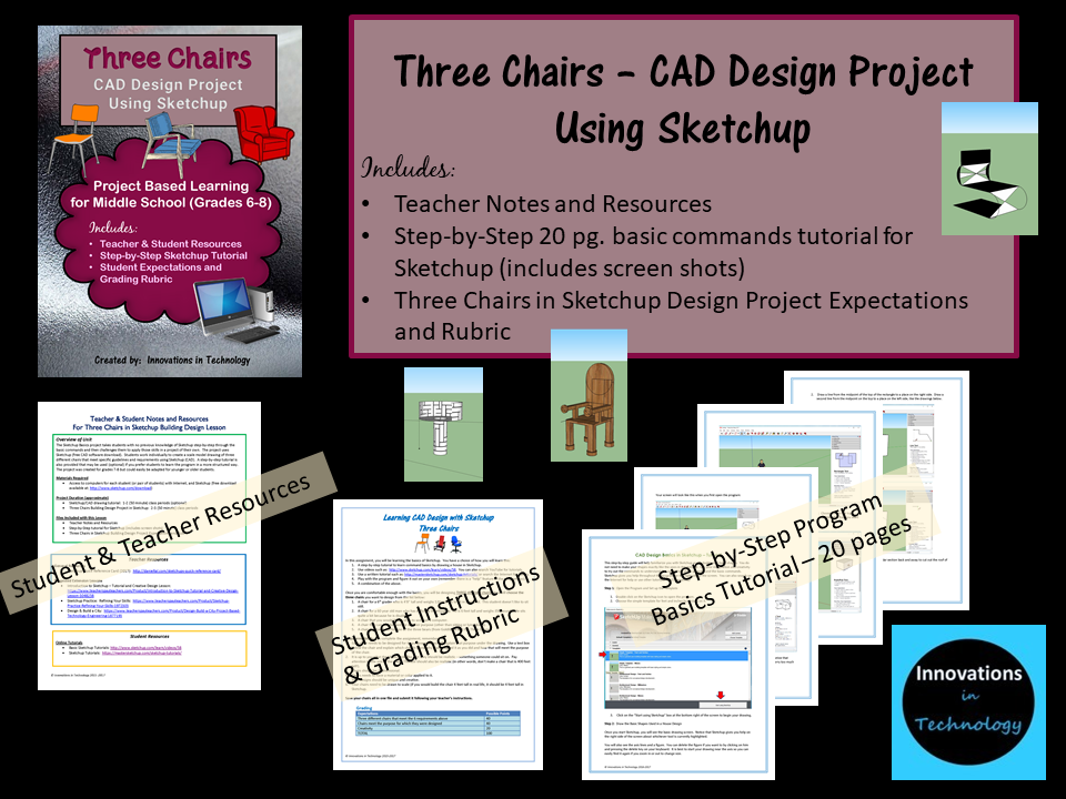 Three Chairs - CAD Design Project in Sketchup