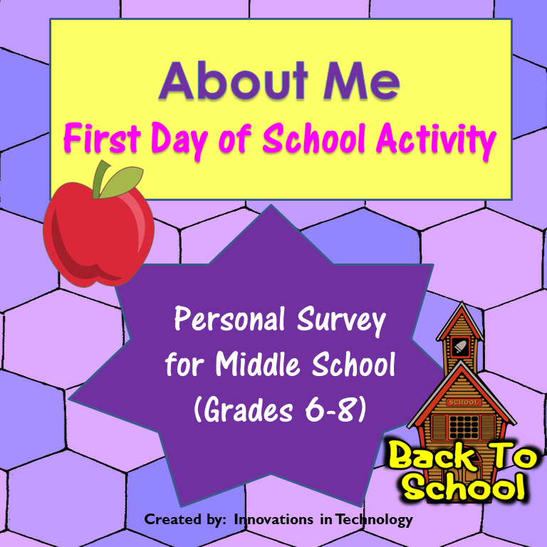 About Me – First Day of School Warm Up Activity