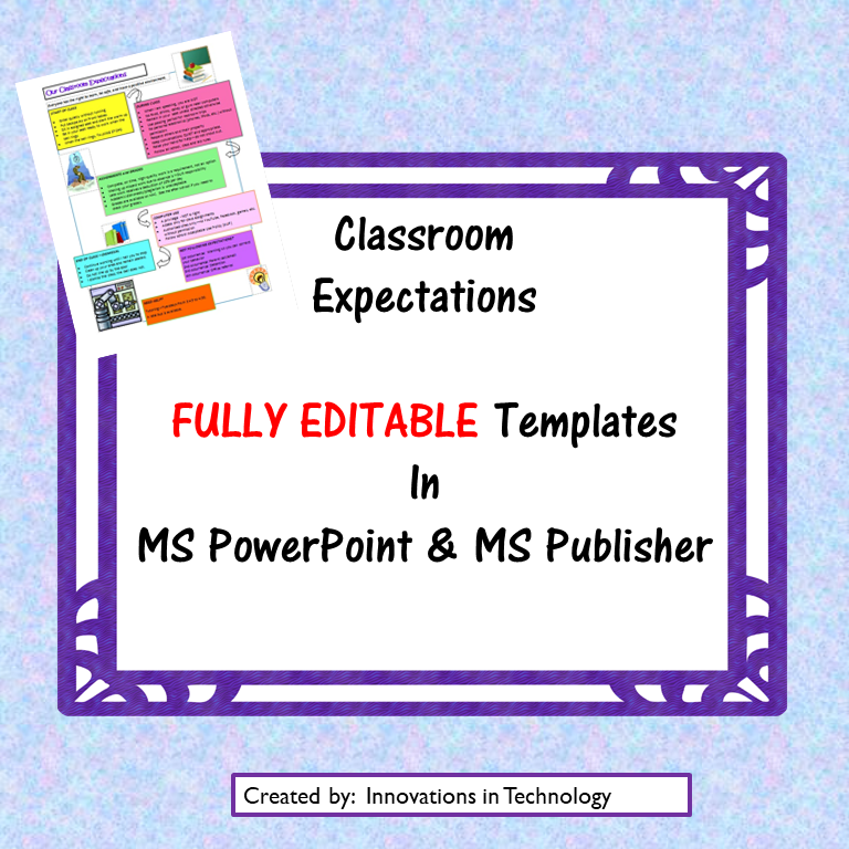 Classroom Expectations & Procedures EDITABLE Template