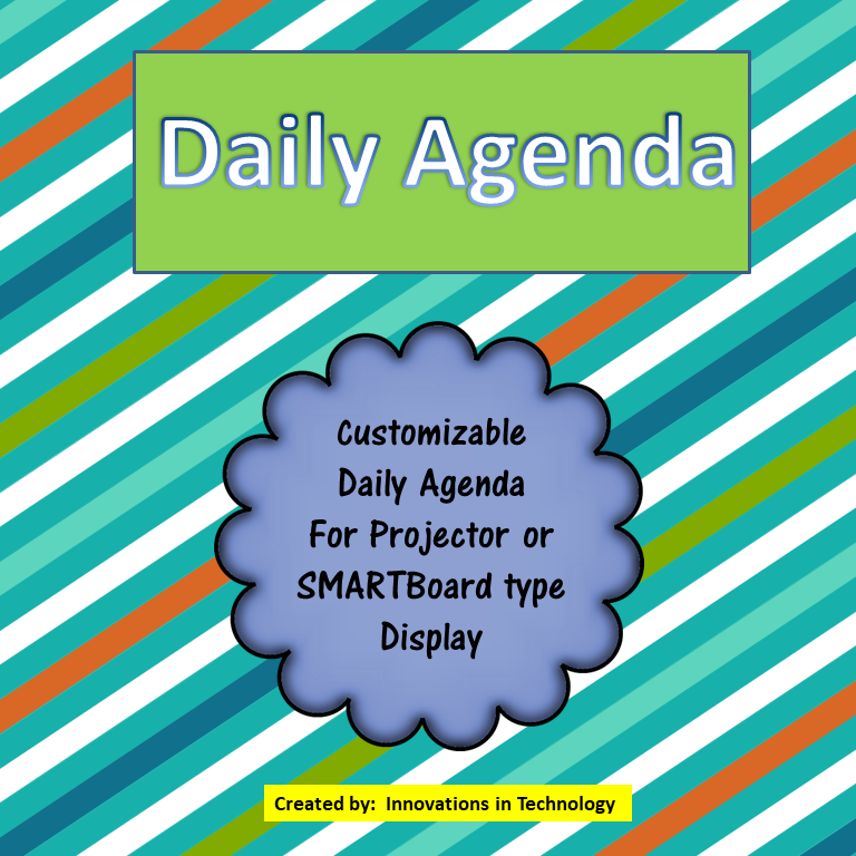 Daily Agenda – for Projector or SMARTBoard