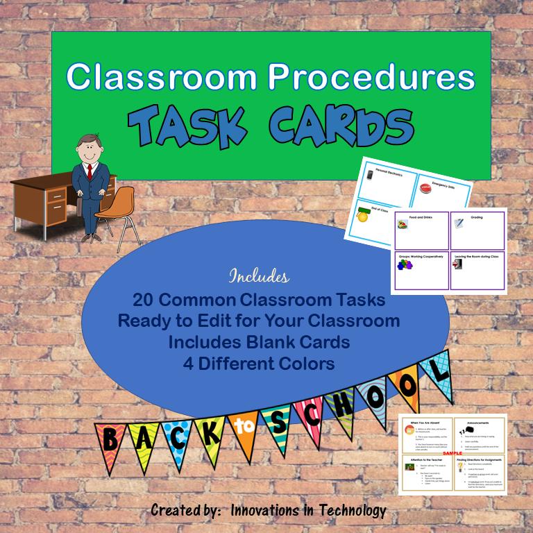 Classroom Procedures Task Cards – Back to School (Editable)