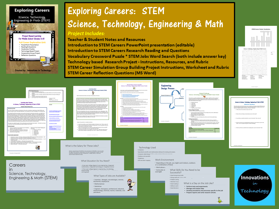 Exploring Careers Stem Science Technology Engineering Math Innovations In Technology