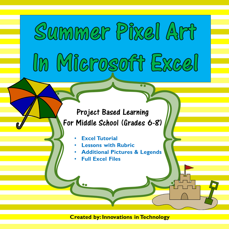 Summer Pixel Art in Microsoft Excel or Google Sheets