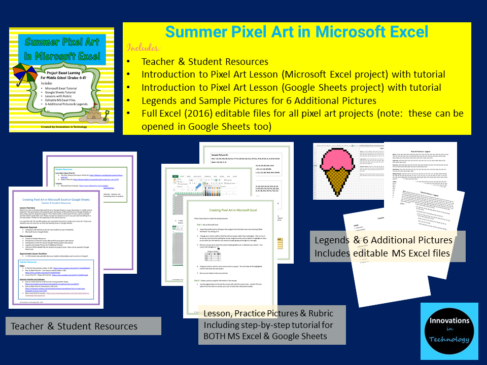 summer pixel art in microsoft excel or google sheets innovations