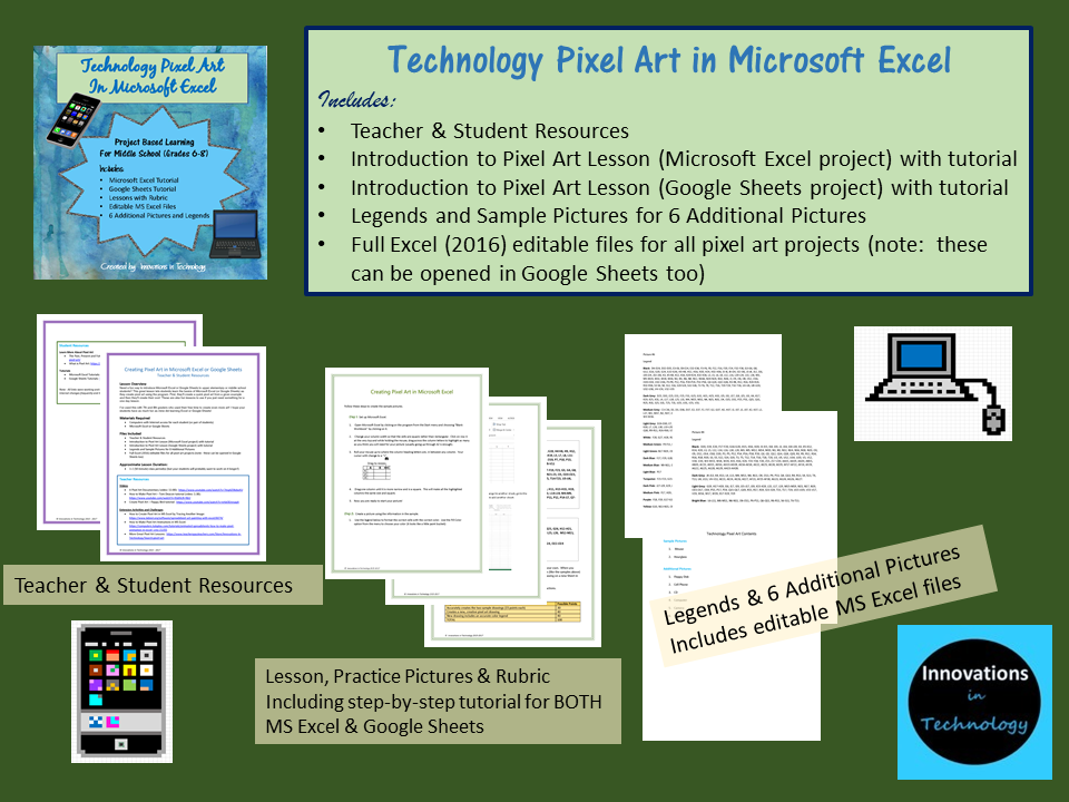 technology themed pixel art in microsoft excel or google sheets