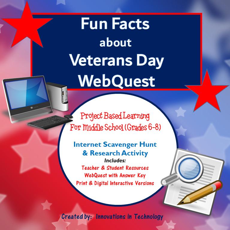 Fun Facts about Veterans Day – Internet Scavenger Hunt / WebQuest