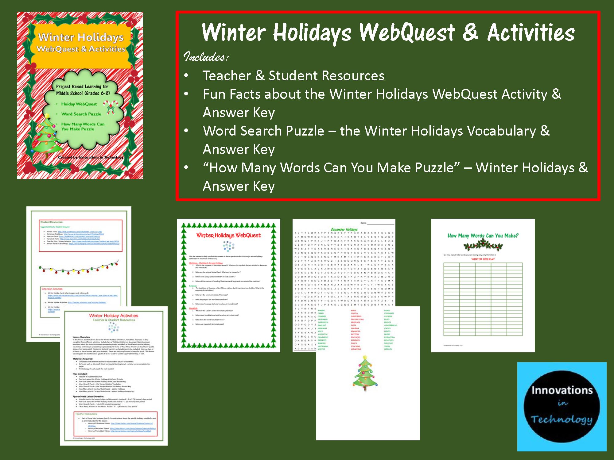Winter Holidays WebQuest / Internet Scavenger Hunt ...