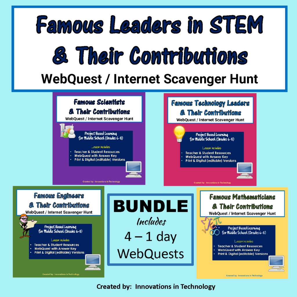 Famous STEM Leaders & Their Contributions WebQuest Internet Scavenger Hunt BUNDLE