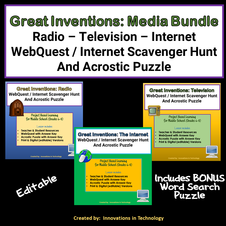 Great Inventions – Media Bundle:  Radio, Television & The Internet